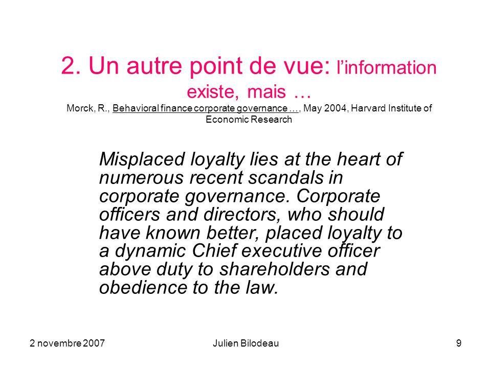 2. Un autre point de vue: l'information existe, mais … Morck, R