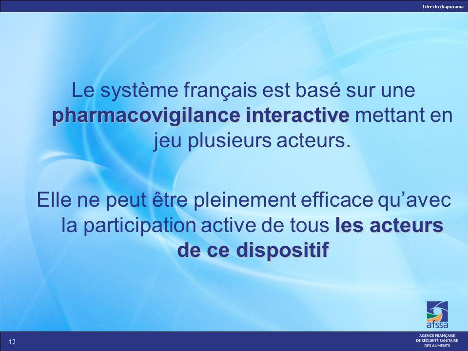 Le système français est basé sur une pharmacovigilance interactive mettant en jeu plusieurs acteurs.