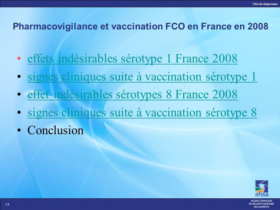 Pharmacovigilance et vaccination FCO en France en 2008