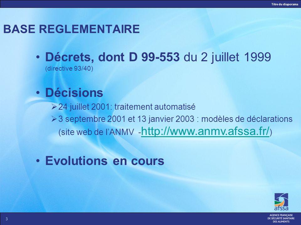 Décrets, dont D 99-553 du 2 juillet 1999 (directive 93/40) Décisions