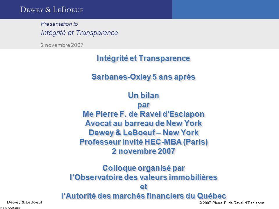 Presentation to Intégrité et Transparence