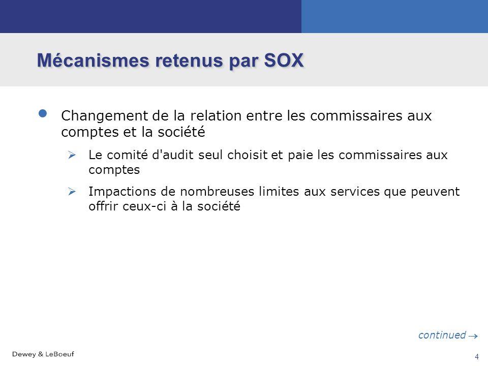 Mécanismes retenus par SOX