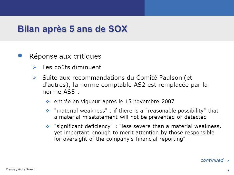 Bilan après 5 ans de SOX Réponse aux critiques Les coûts diminuent
