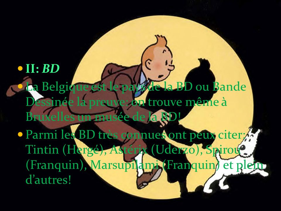 II: BD La Belgique est le pays de la BD ou Bande Dessinée la preuve: on trouve même à Bruxelles un musée de la BD!