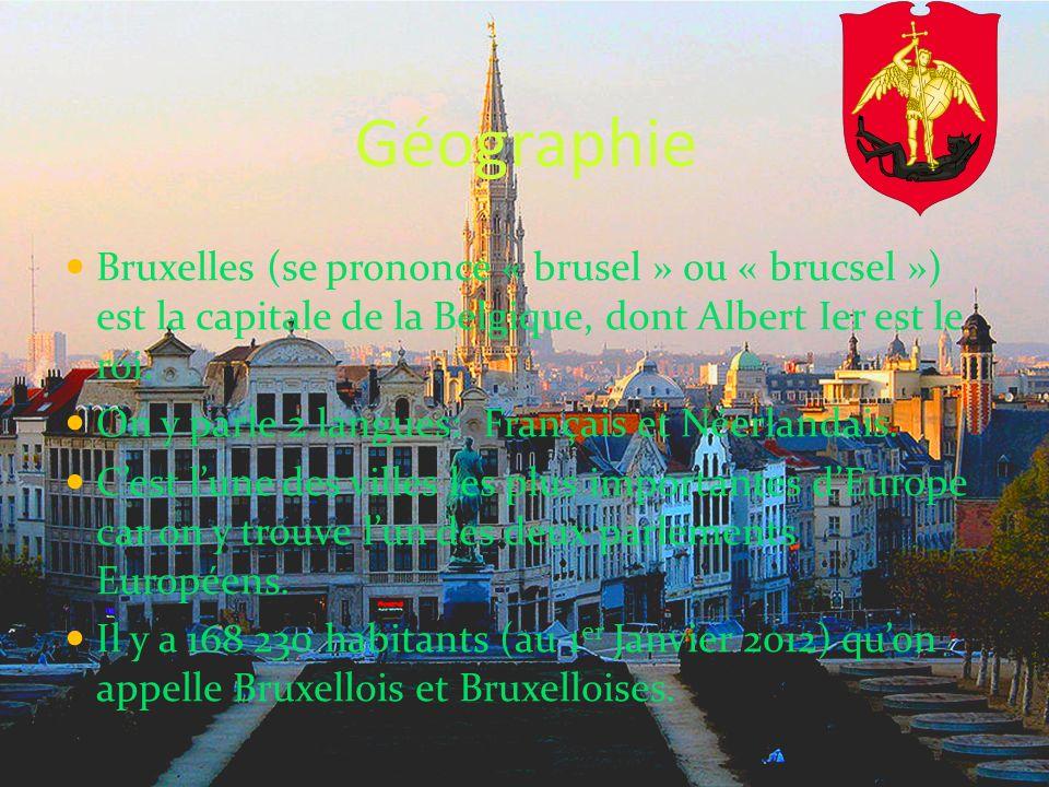 Géographie Bruxelles (se prononce « brusel » ou « brucsel ») est la capitale de la Belgique, dont Albert Ier est le roi.