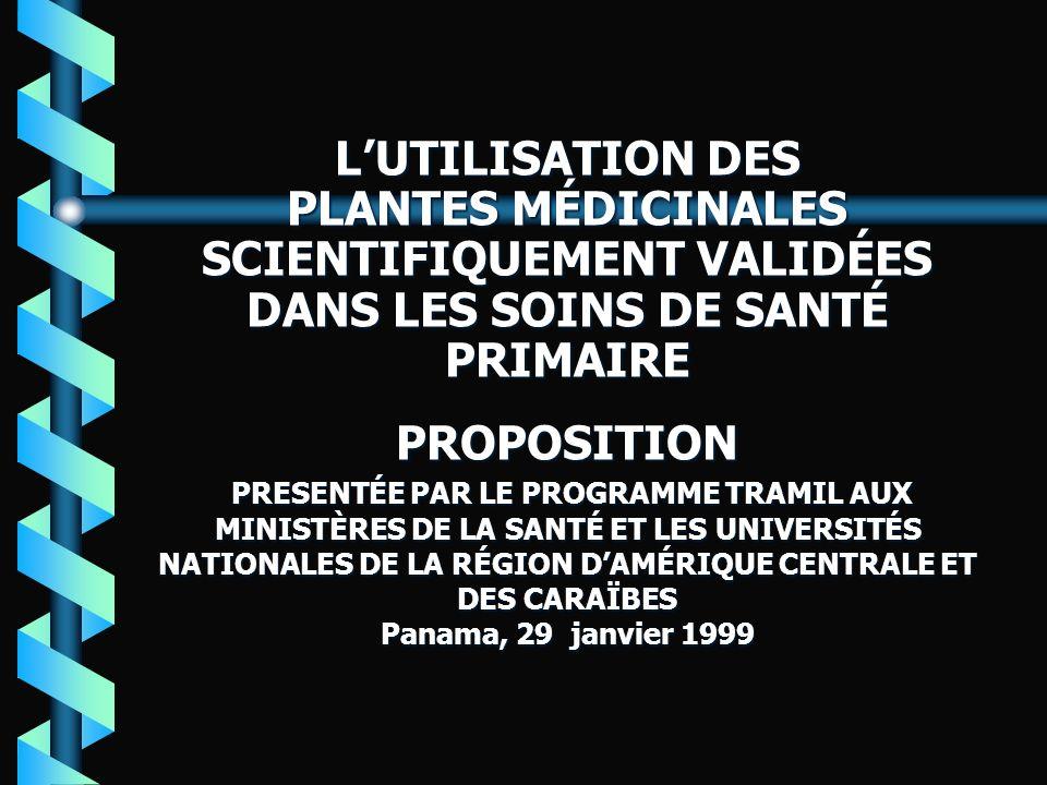 L'UTILISATION DES PLANTES MÉDICINALES SCIENTIFIQUEMENT VALIDÉES DANS LES SOINS DE SANTÉ PRIMAIRE