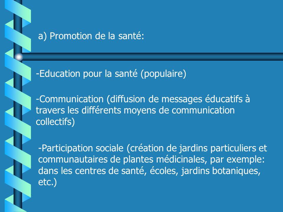 a) Promotion de la santé: