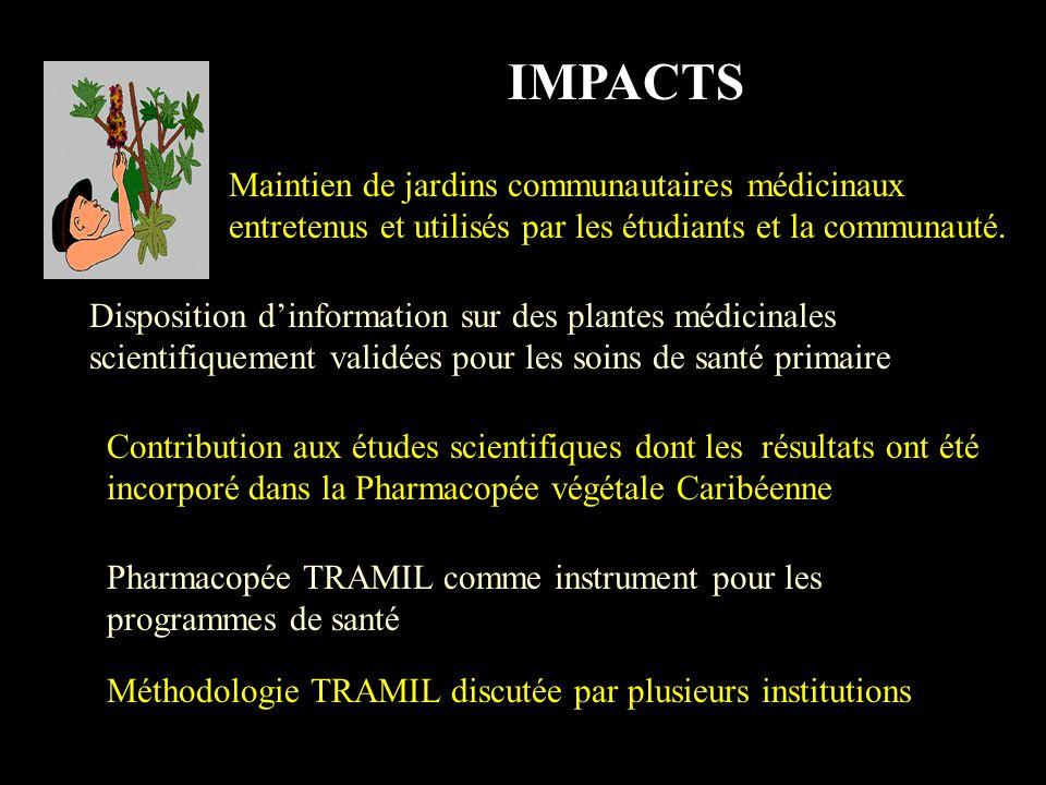 IMPACTS Maintien de jardins communautaires médicinaux entretenus et utilisés par les étudiants et la communauté.