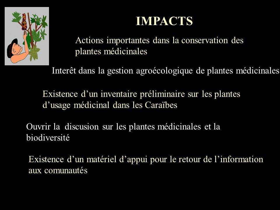 IMPACTS Actions importantes dans la conservation des plantes médicinales. Interêt dans la gestion agroécologique de plantes médicinales.