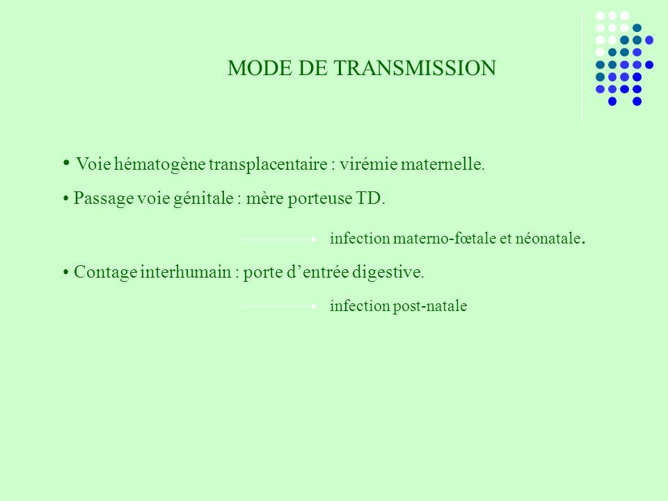 Voie hématogène transplacentaire : virémie maternelle.