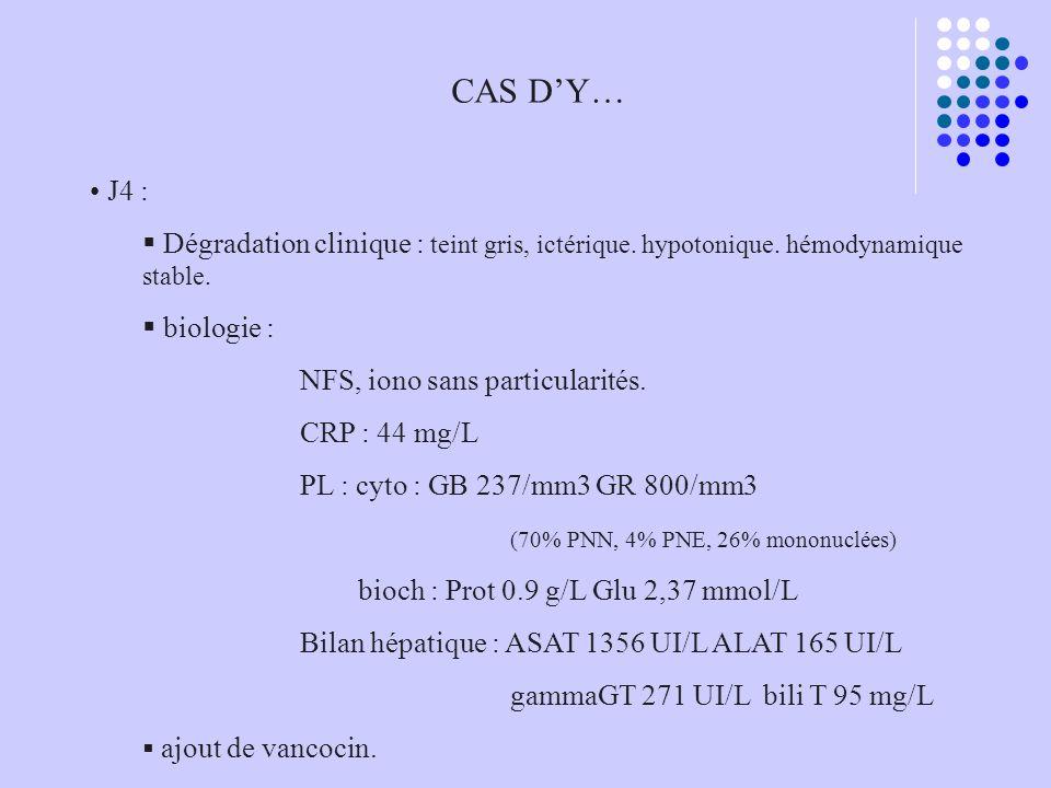 CAS D'Y… J4 : Dégradation clinique : teint gris, ictérique. hypotonique. hémodynamique stable. biologie :