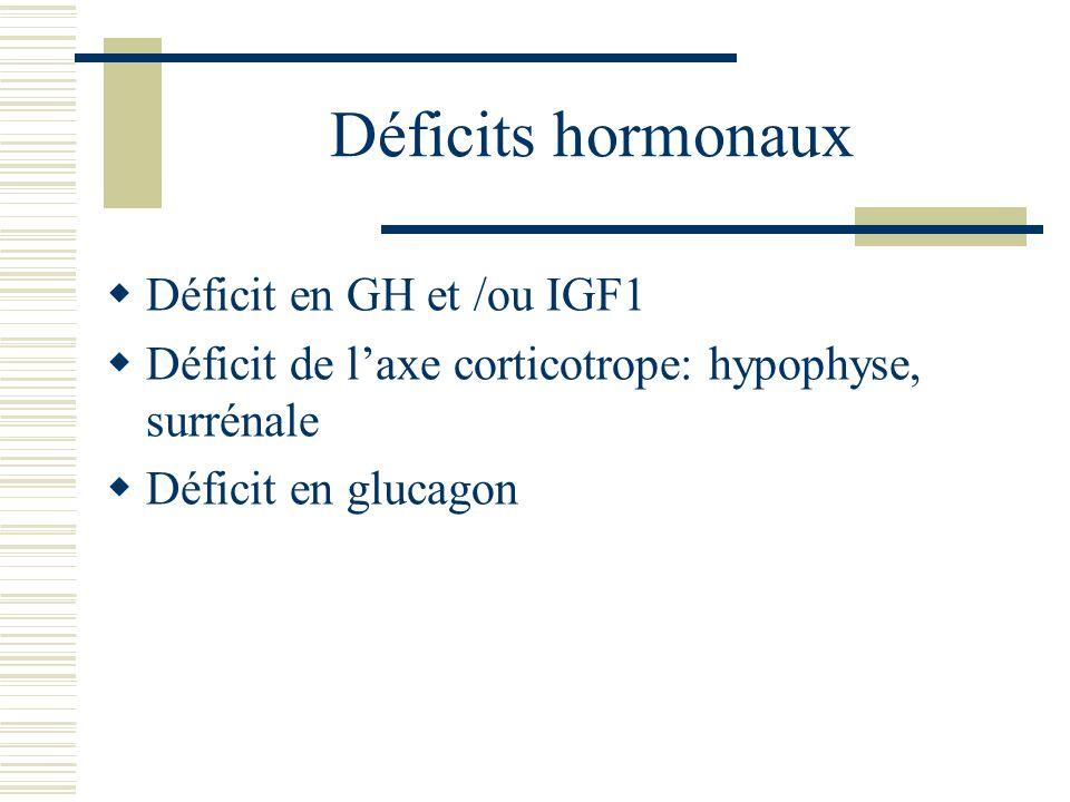 Déficits hormonaux Déficit en GH et /ou IGF1