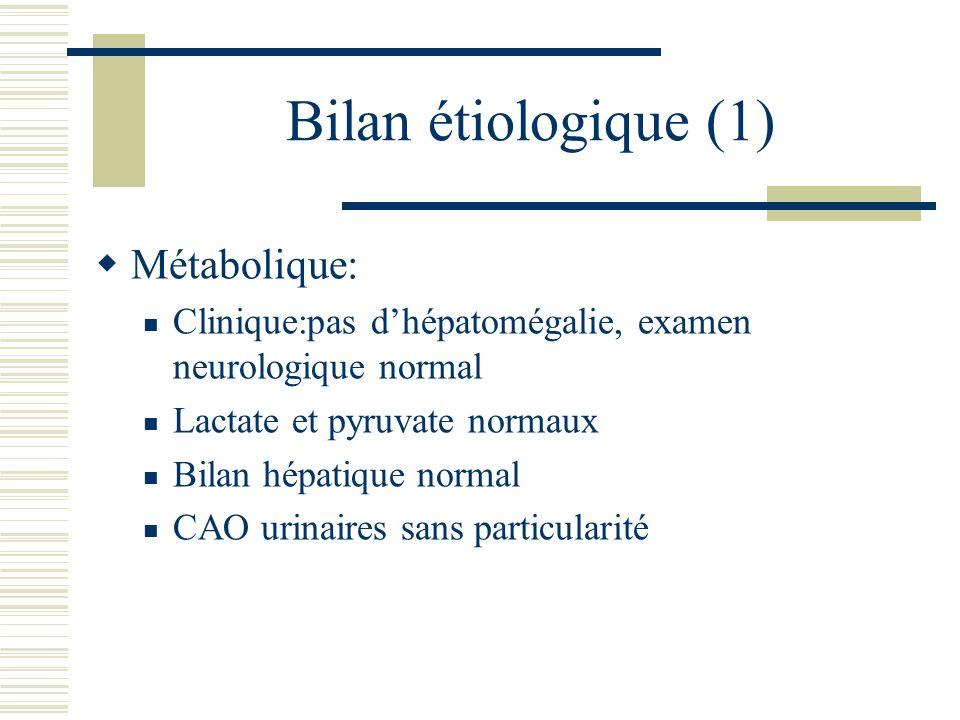 Bilan étiologique (1) Métabolique: