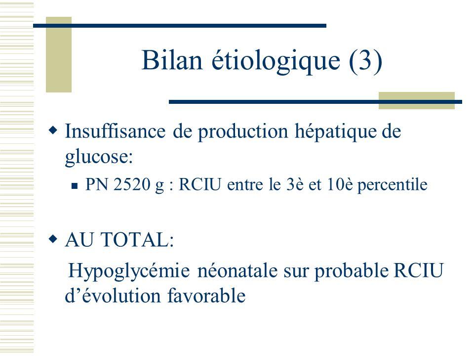 Bilan étiologique (3) Insuffisance de production hépatique de glucose: