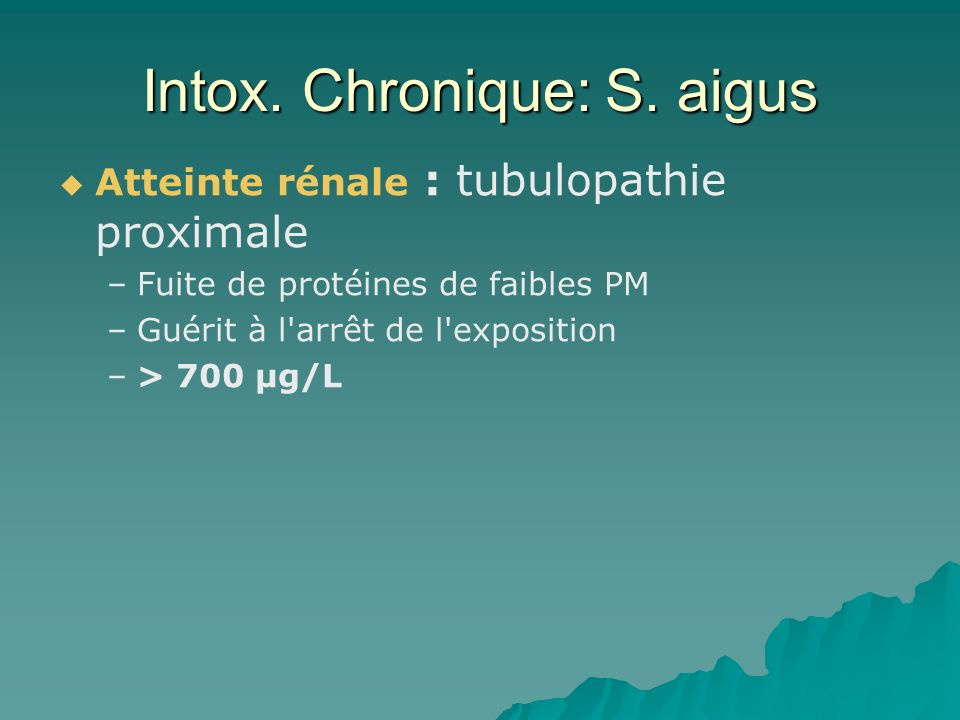 Intox. Chronique: S. aigus