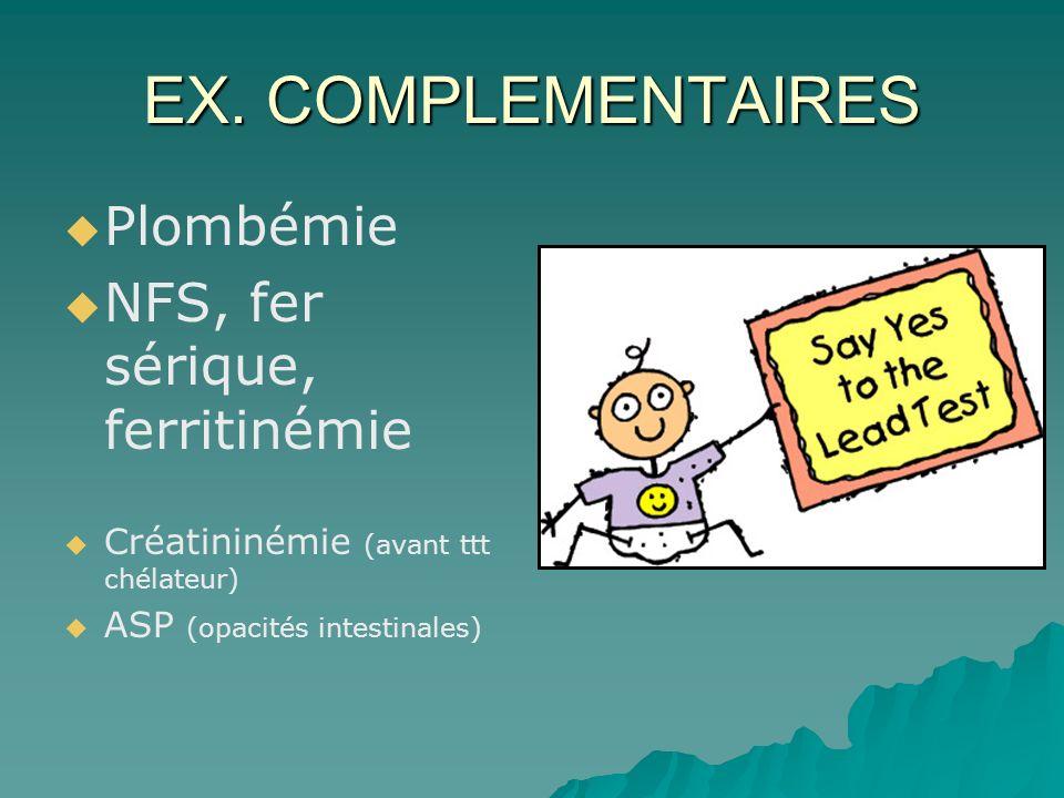 EX. COMPLEMENTAIRES Plombémie NFS, fer sérique, ferritinémie