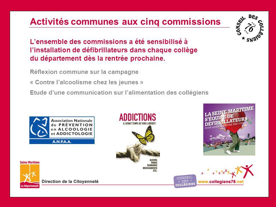 Activités communes aux cinq commissions