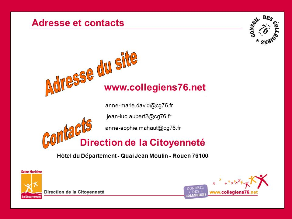 Adresse du site Contacts Adresse et contacts