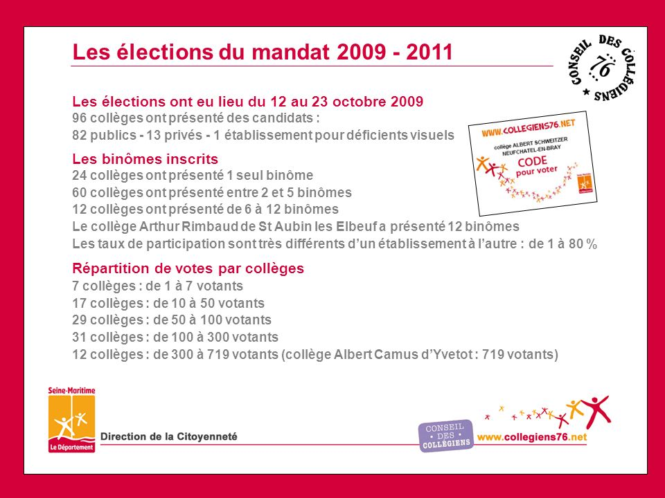 Les élections du mandat 2009 - 2011
