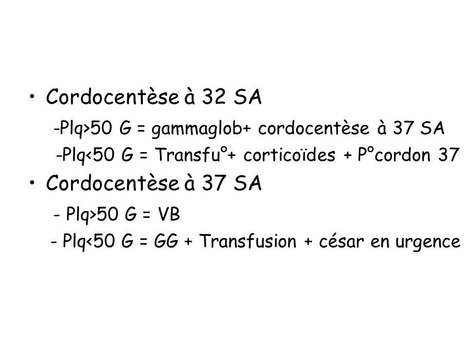-Plq>50 G = gammaglob+ cordocentèse à 37 SA Cordocentèse à 37 SA