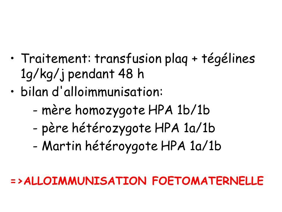 Traitement: transfusion plaq + tégélines 1g/kg/j pendant 48 h