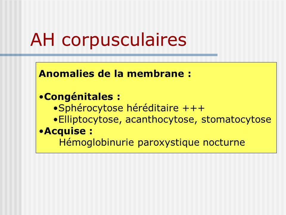 AH corpusculaires Anomalies de la membrane : Congénitales :