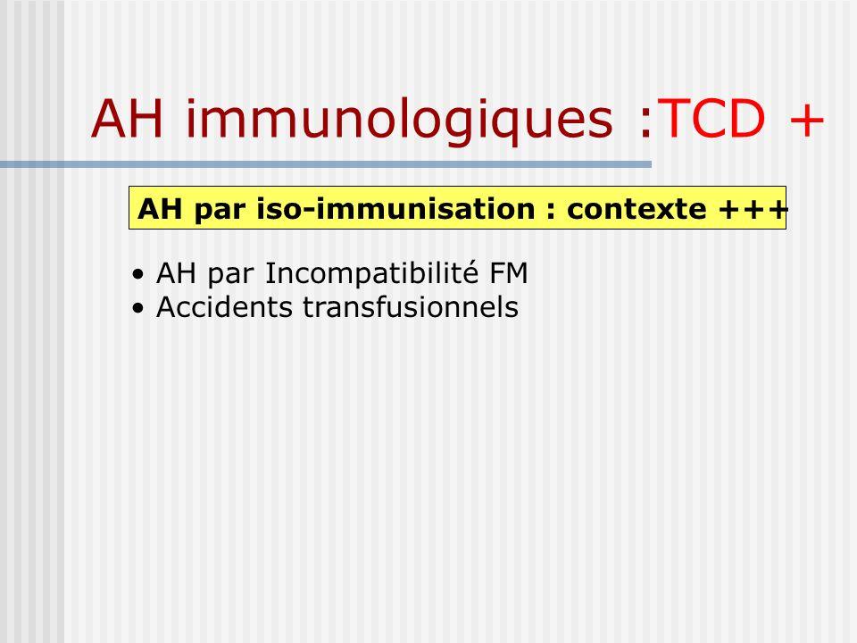 AH immunologiques :TCD +