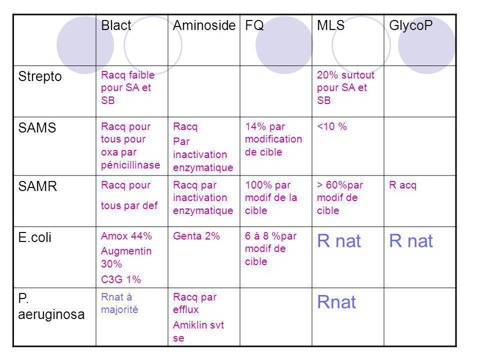 R nat Rnat Blact Aminoside FQ MLS GlycoP Strepto SAMS SAMR E.coli