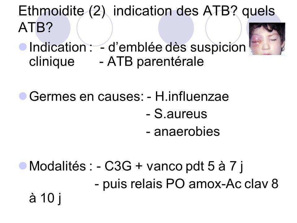 Ethmoidite (2) indication des ATB quels ATB