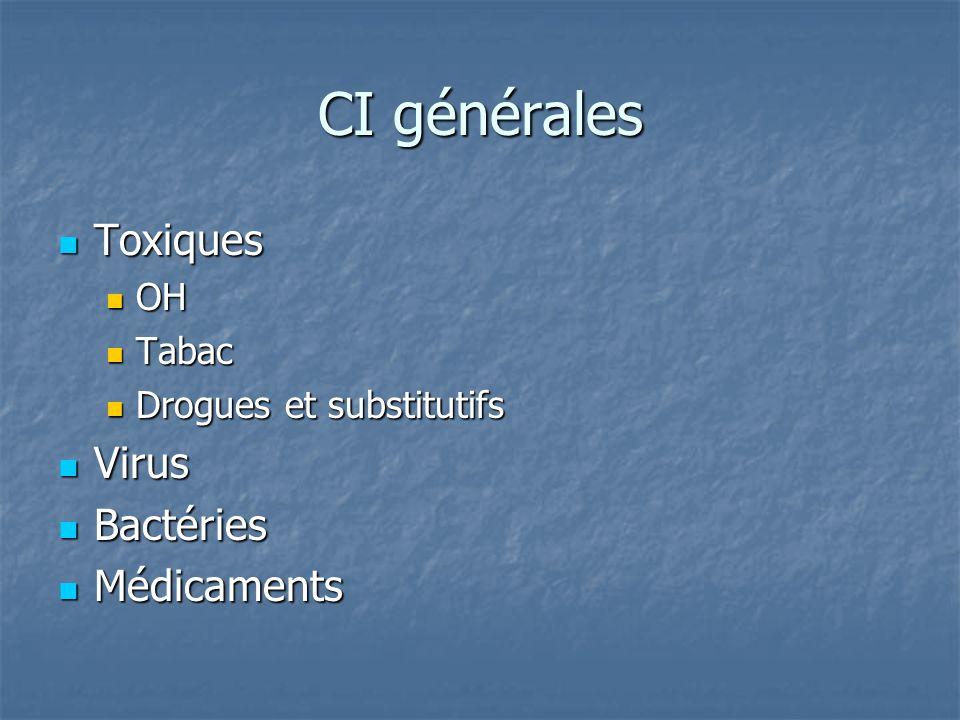 CI générales Toxiques Virus Bactéries Médicaments OH Tabac