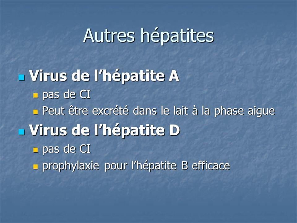 Autres hépatites Virus de l'hépatite A Virus de l'hépatite D pas de CI