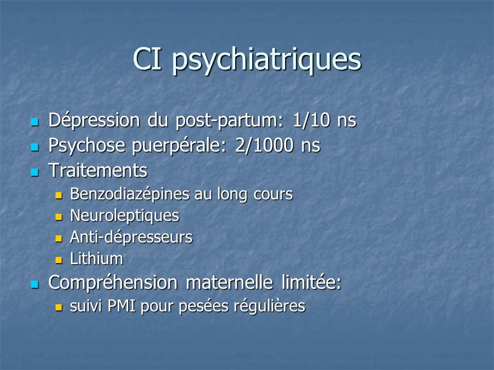 CI psychiatriques Dépression du post-partum: 1/10 ns