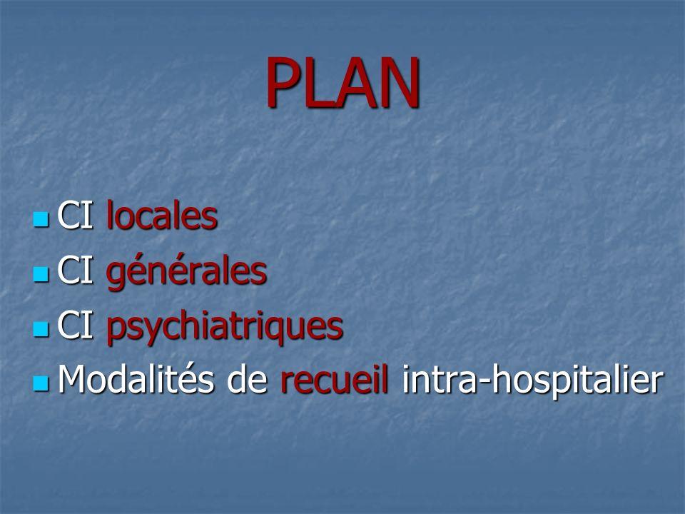 PLAN CI locales CI générales CI psychiatriques
