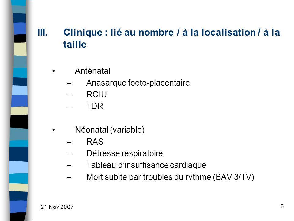 Clinique : lié au nombre / à la localisation / à la taille