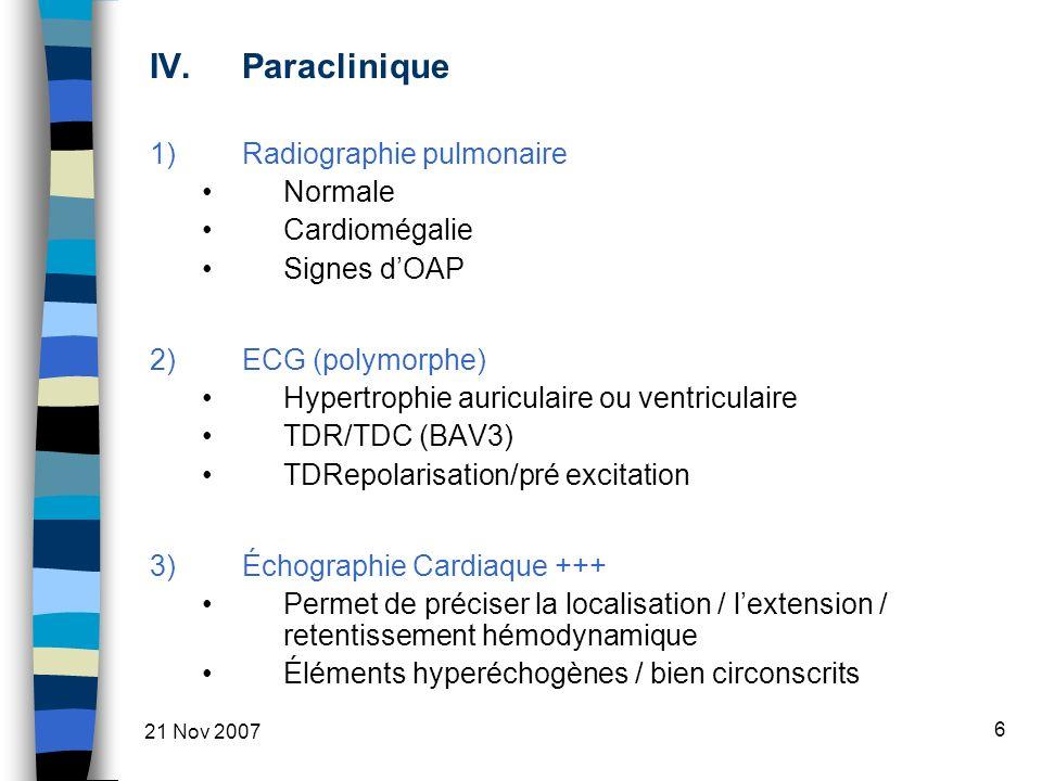 Paraclinique Radiographie pulmonaire Normale Cardiomégalie