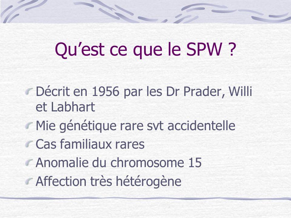 Qu'est ce que le SPW Décrit en 1956 par les Dr Prader, Willi et Labhart. Mie génétique rare svt accidentelle.