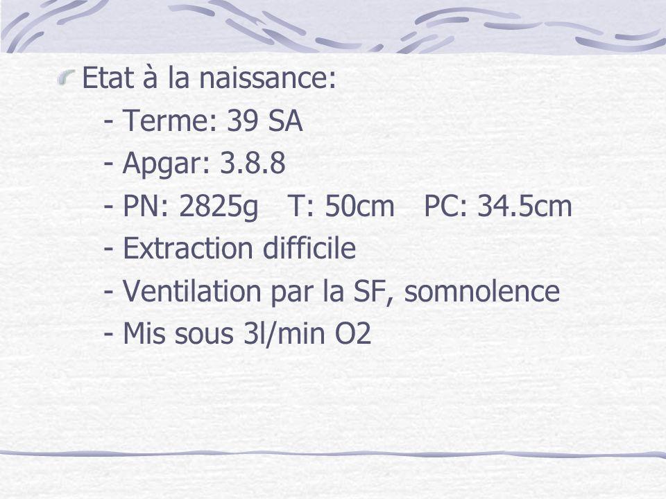 Etat à la naissance: - Terme: 39 SA. - Apgar: 3.8.8. - PN: 2825g T: 50cm PC: 34.5cm. - Extraction difficile.