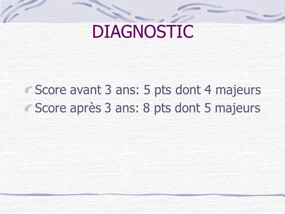 DIAGNOSTIC Score avant 3 ans: 5 pts dont 4 majeurs