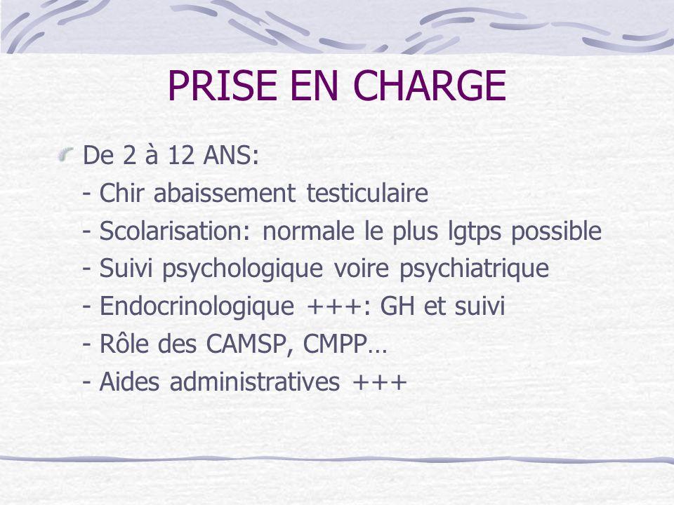 PRISE EN CHARGE De 2 à 12 ANS: - Chir abaissement testiculaire