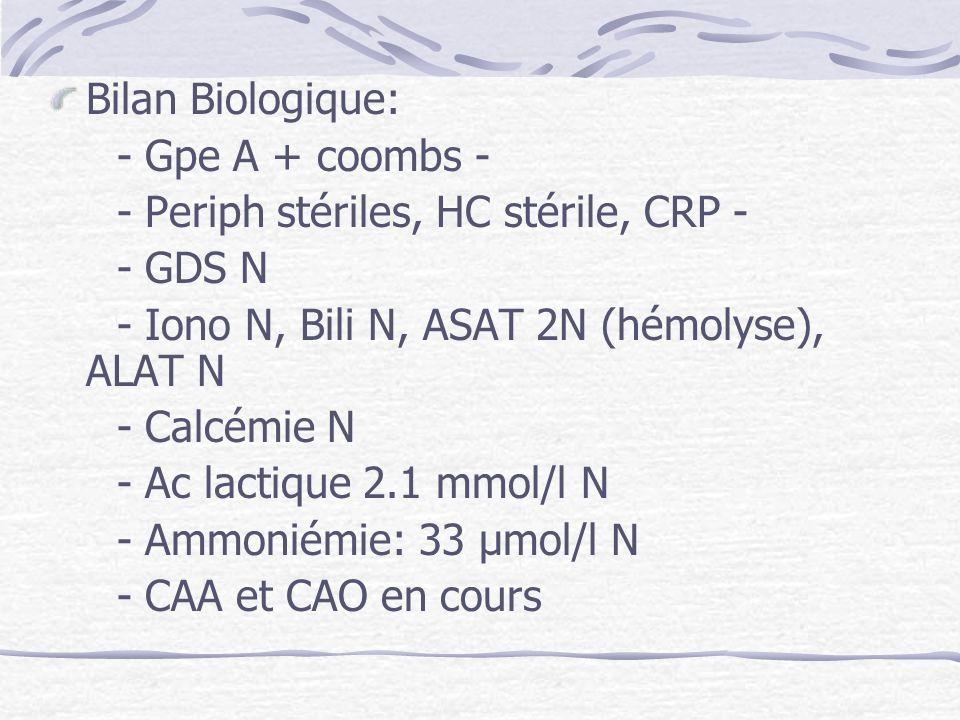 Bilan Biologique: - Gpe A + coombs - - Periph stériles, HC stérile, CRP - - GDS N. - Iono N, Bili N, ASAT 2N (hémolyse), ALAT N.