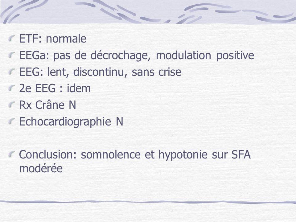 ETF: normale EEGa: pas de décrochage, modulation positive. EEG: lent, discontinu, sans crise. 2e EEG : idem.