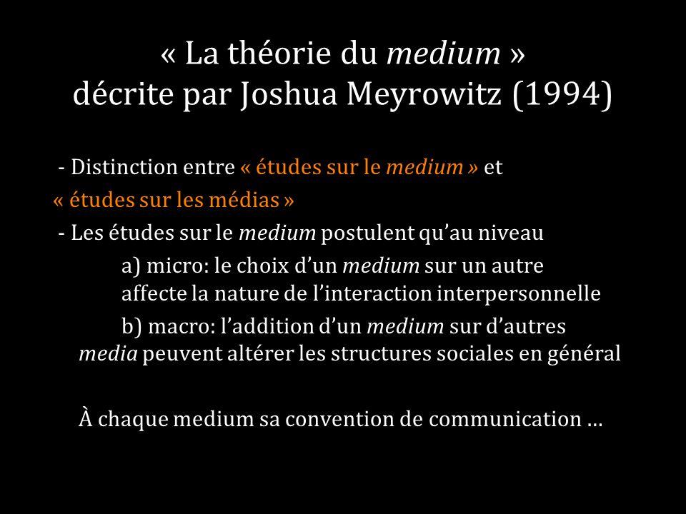 « La théorie du medium » décrite par Joshua Meyrowitz (1994)