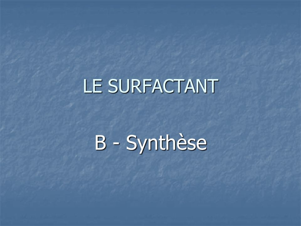 LE SURFACTANT B - Synthèse