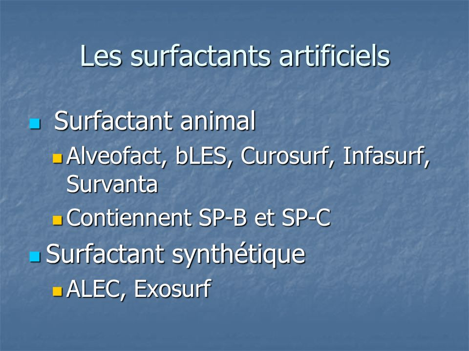 Les surfactants artificiels