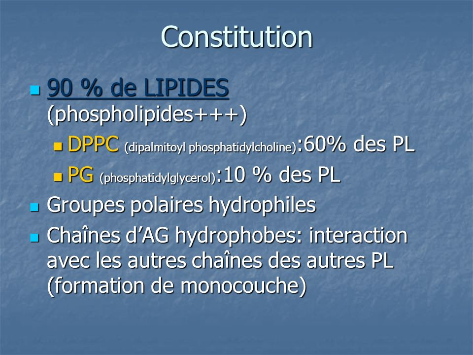 Constitution 90 % de LIPIDES (phospholipides+++)