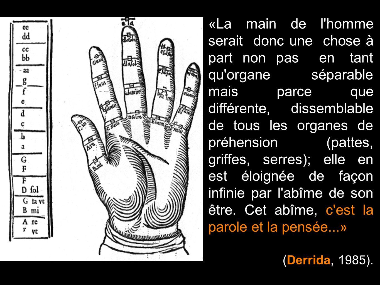 «La main de l homme serait donc une chose à part non pas en tant qu organe séparable mais parce que différente, dissemblable de tous les organes de préhension (pattes, griffes, serres); elle en est éloignée de façon infinie par l abîme de son être. Cet abîme, c est la parole et la pensée...»
