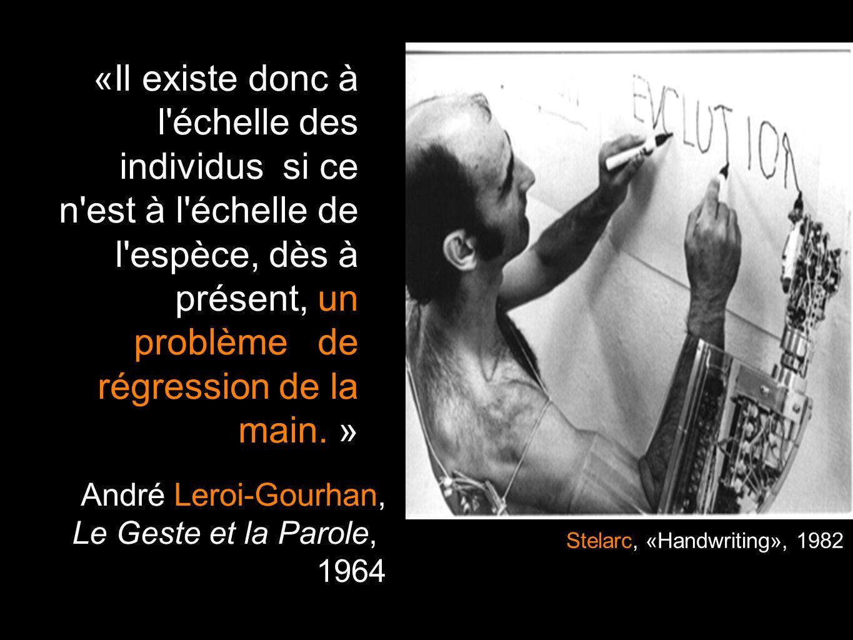 «Il existe donc à l échelle des individus si ce n est à l échelle de l espèce, dès à présent, un problème de régression de la main. »