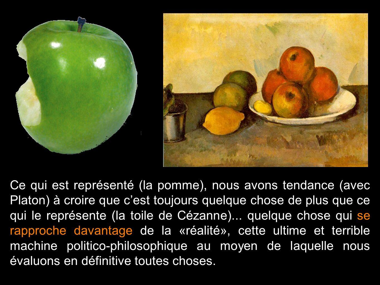 Ce qui est représenté (la pomme), nous avons tendance (avec Platon) à croire que c'est toujours quelque chose de plus que ce qui le représente (la toile de Cézanne)...