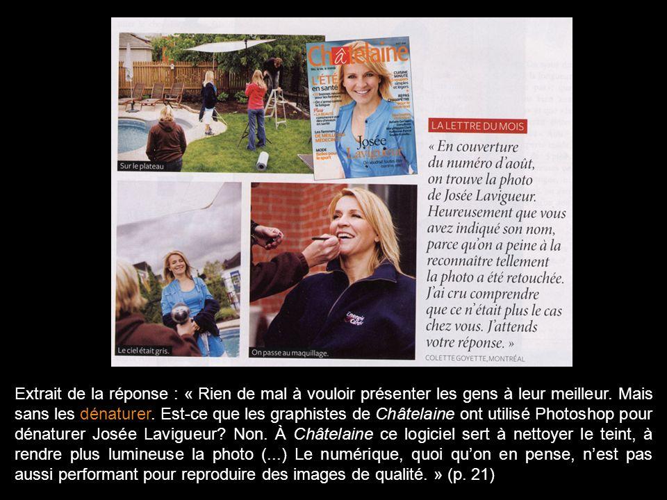 Magazine Châtelaine, octobre 2008, p. 21.