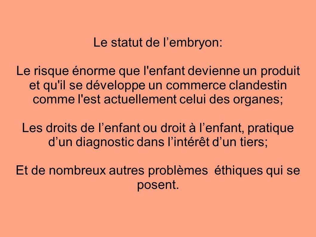 Le statut de l'embryon:
